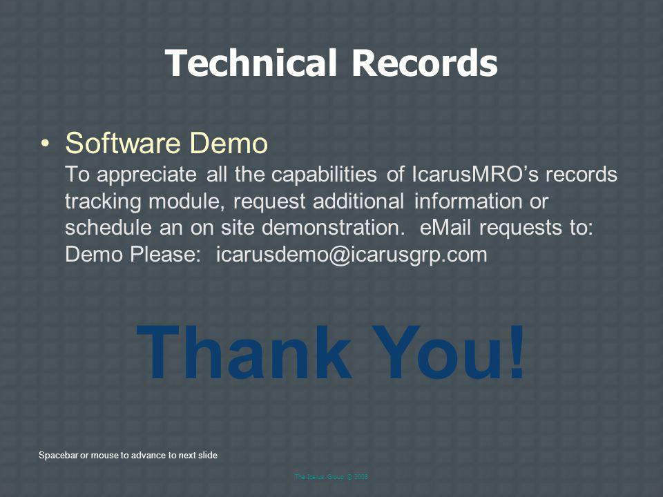 Thank You! Technical Records
