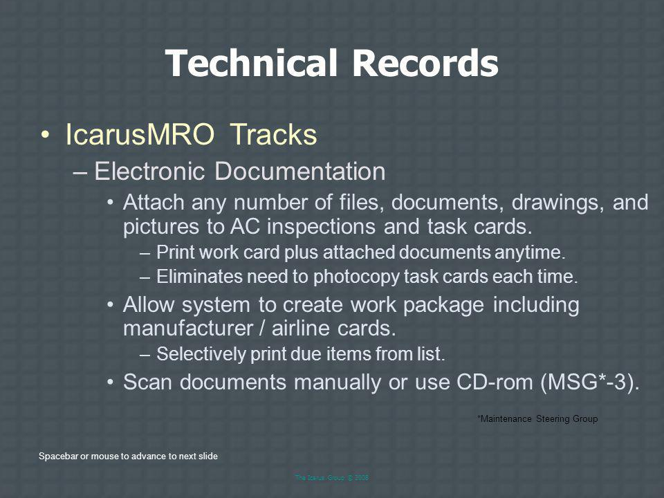 Technical Records IcarusMRO Tracks Electronic Documentation