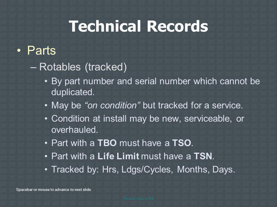 Technical Records Parts Rotables (tracked)