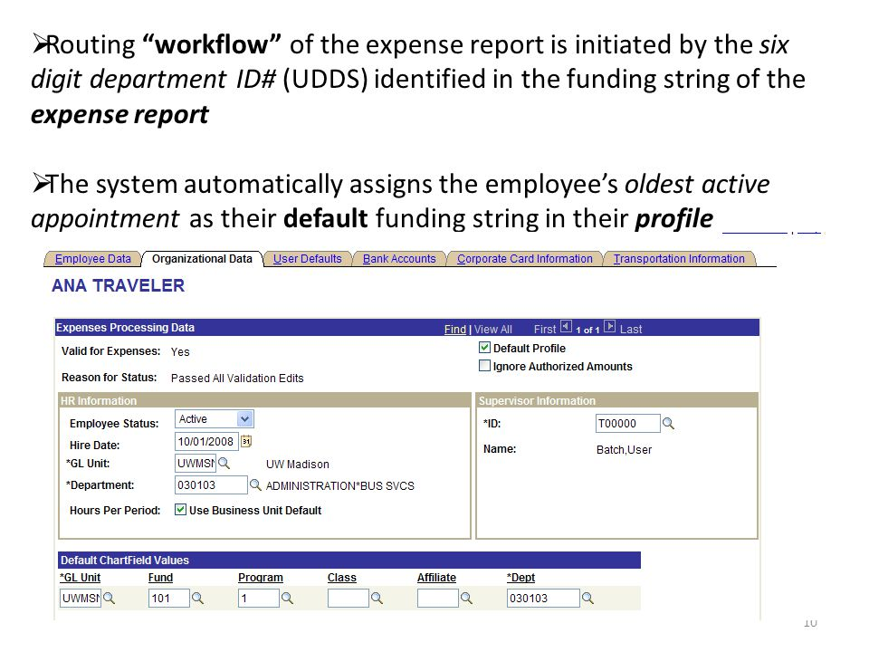 Routing workflow of the expense report is initiated by the six digit department ID# (UDDS) identified in the funding string of the expense report