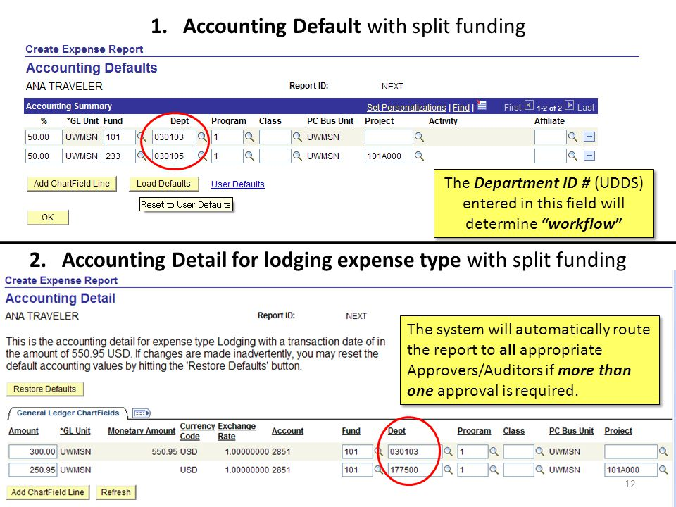 1. Accounting Default with split funding