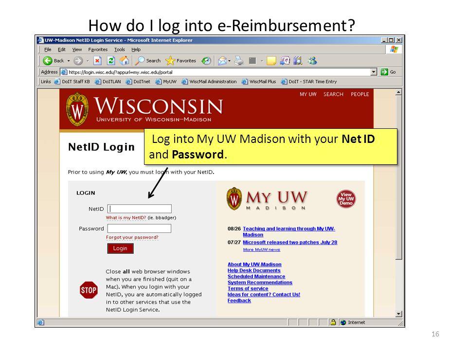 How do I log into e-Reimbursement