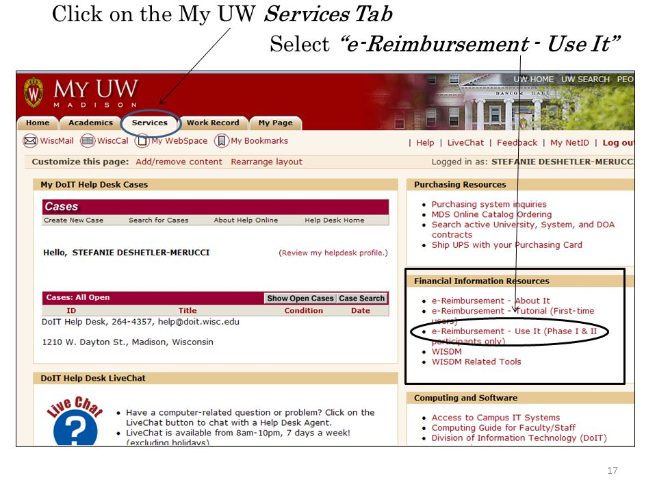 Click on the My UW Services Tab