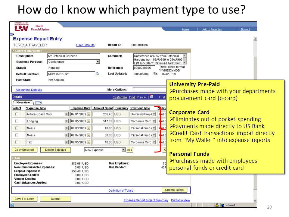 How do I know which payment type to use