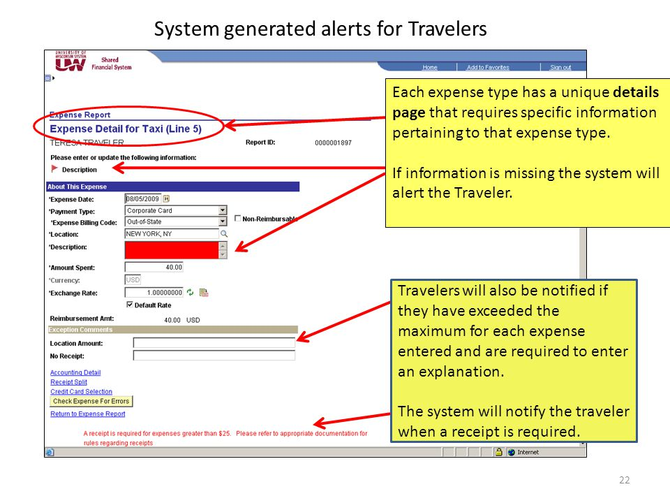 System generated alerts for Travelers