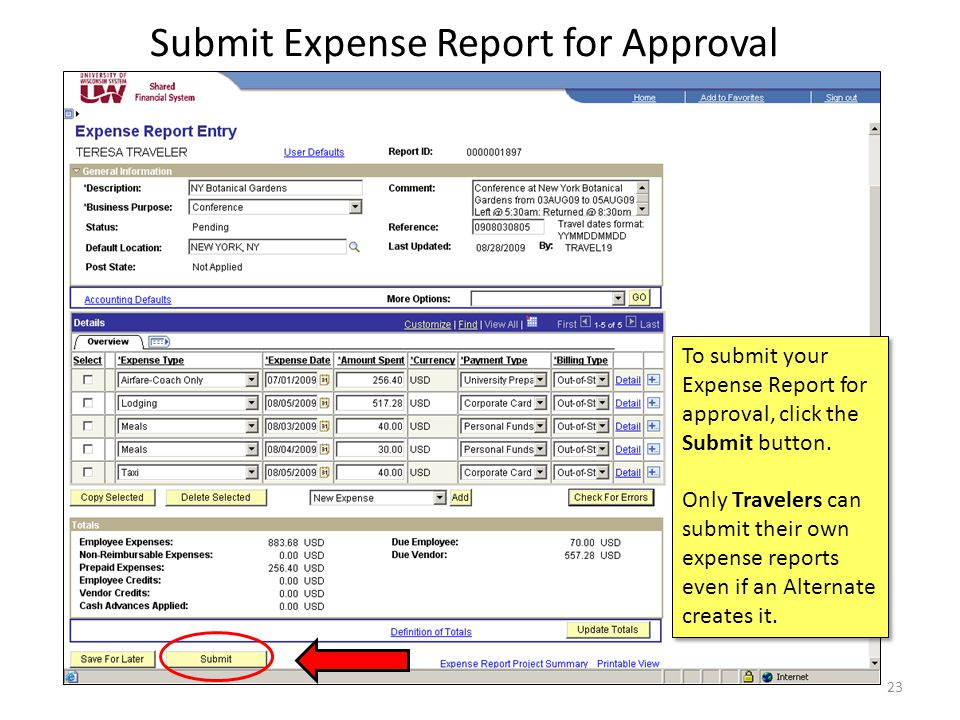 Submit Expense Report for Approval