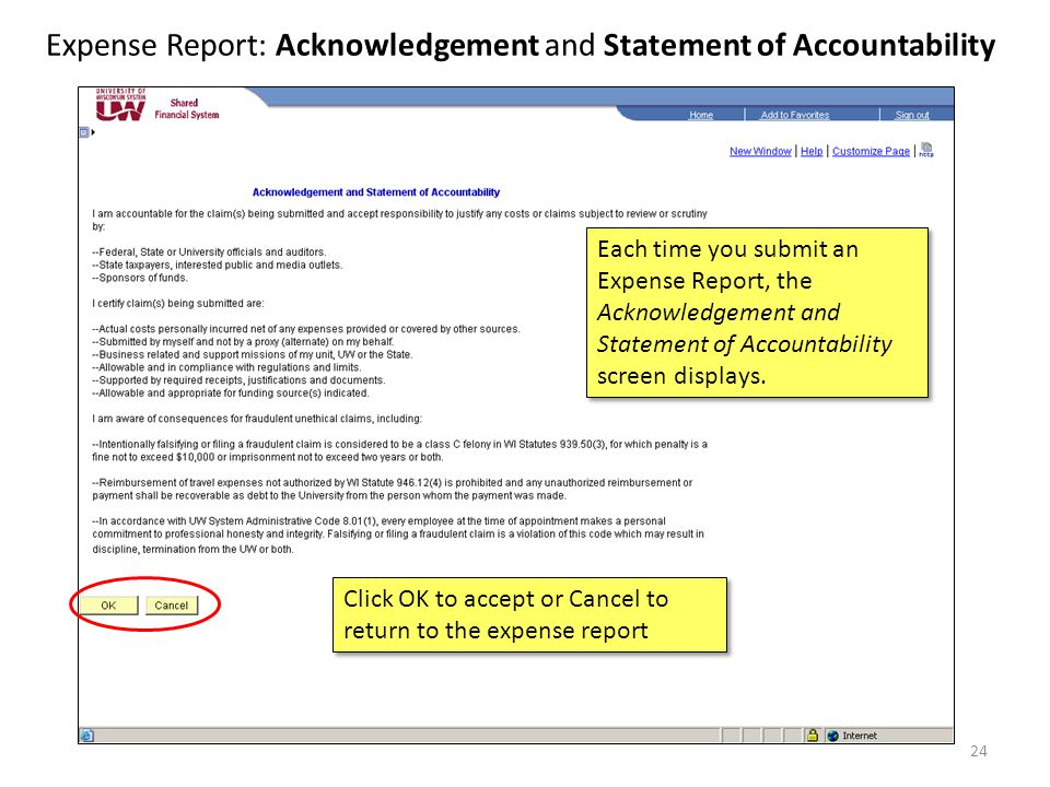 Expense Report: Acknowledgement and Statement of Accountability