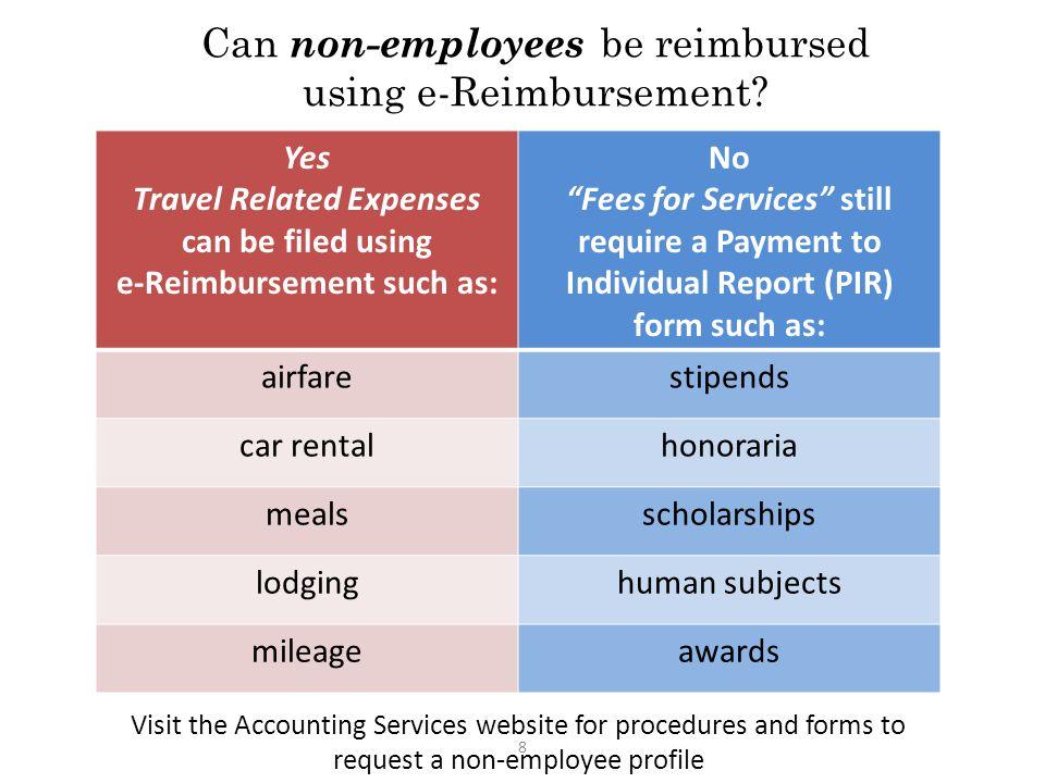 Can non-employees be reimbursed using e-Reimbursement