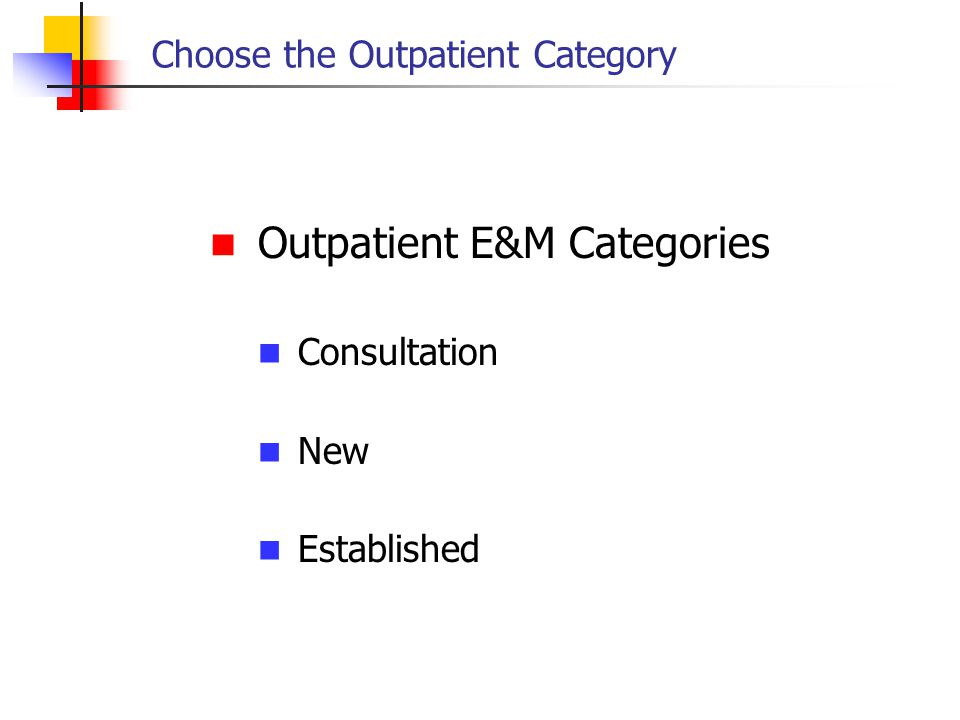 Choose the Outpatient Category