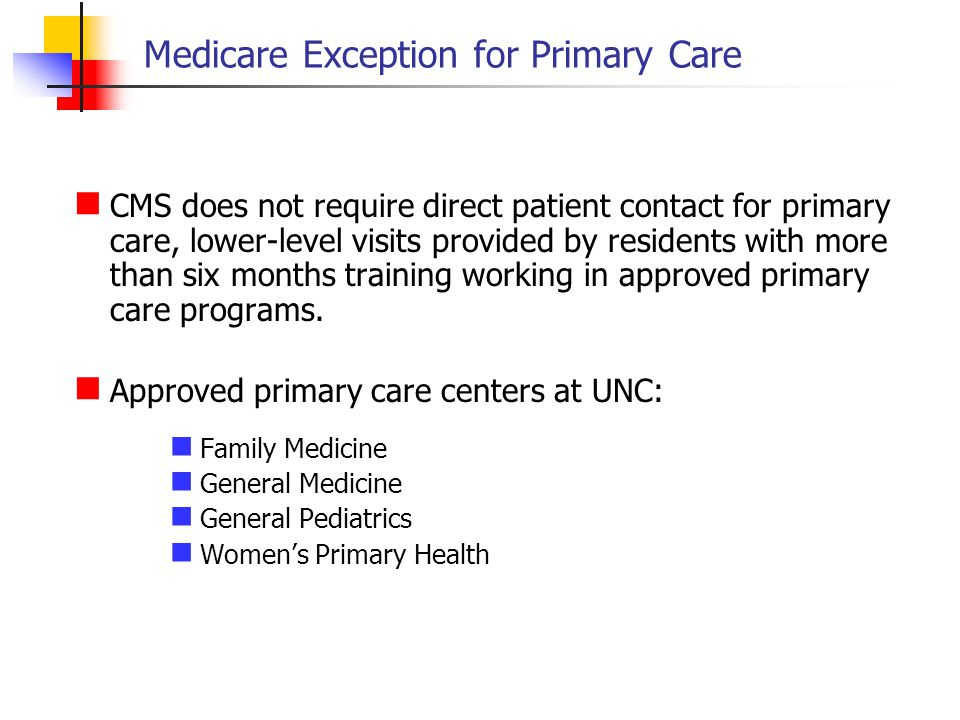 Medicare Exception for Primary Care