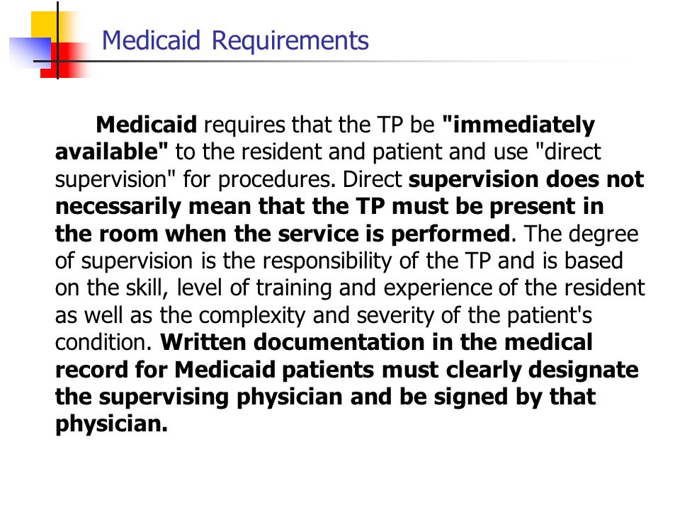 Medicaid Requirements