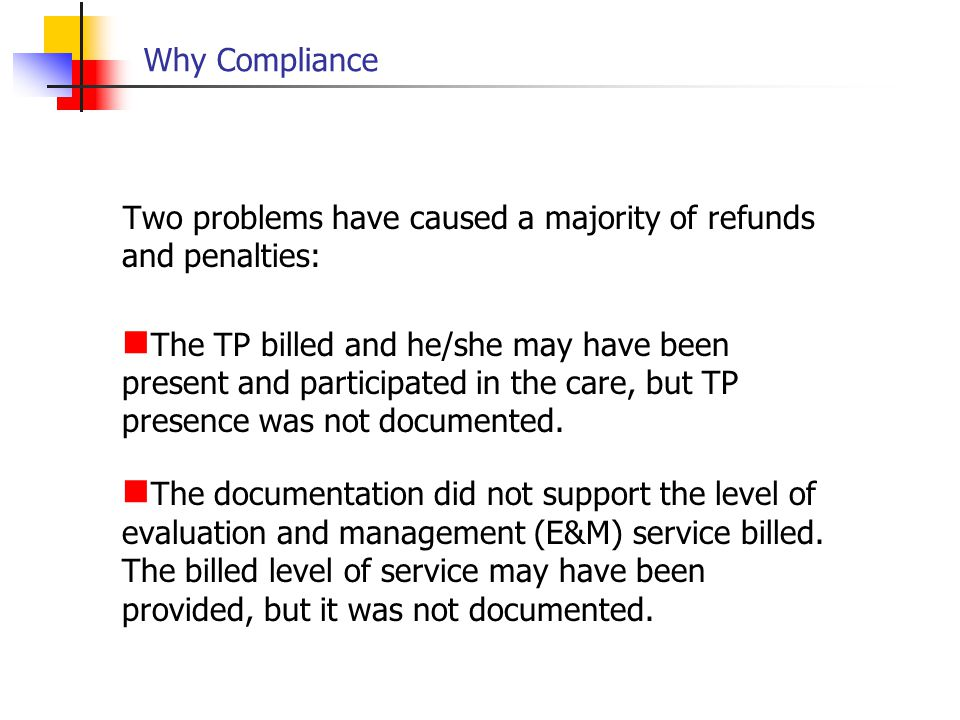 Why Compliance Two problems have caused a majority of refunds and penalties: