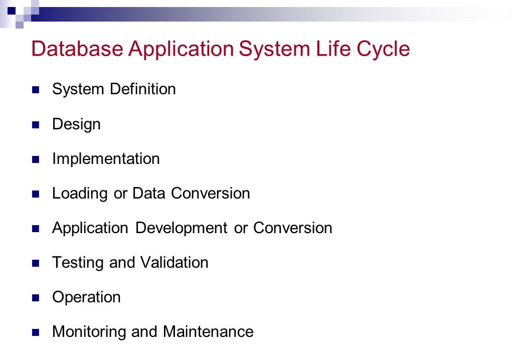 Database Application System Life Cycle