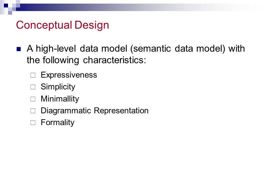 Conceptual Design A high-level data model (semantic data model) with the following characteristics: