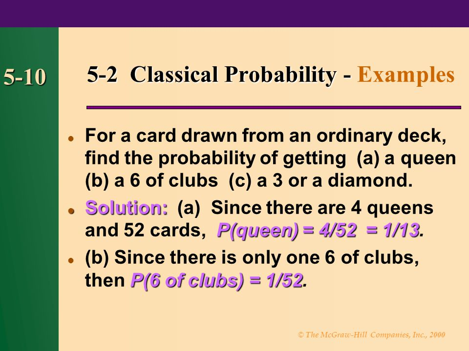 5-2 Classical Probability - Examples