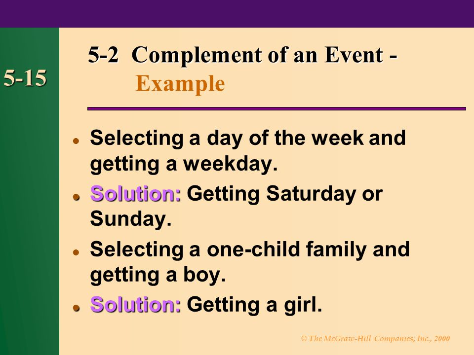 5-2 Complement of an Event - Example