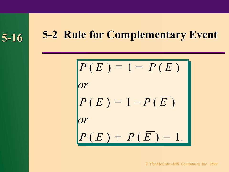 5-2 Rule for Complementary Event