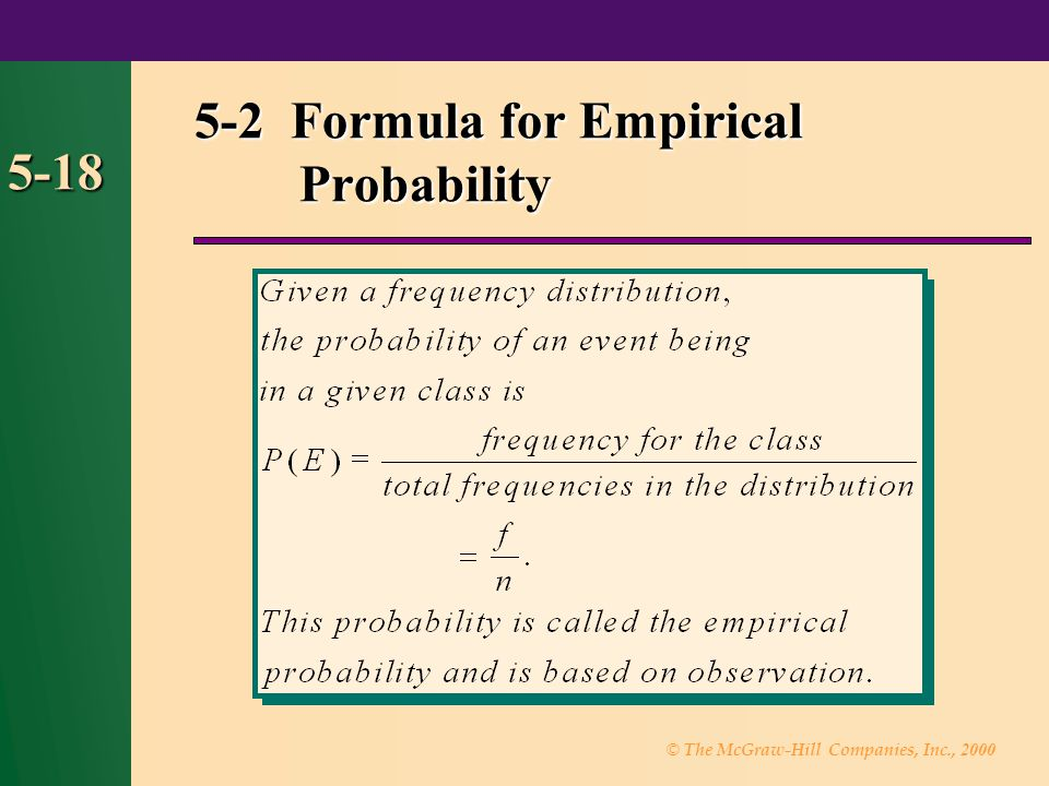 5-2 Formula for Empirical Probability