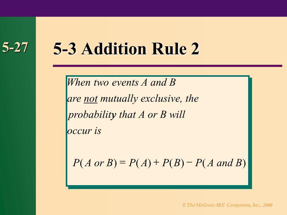 5-3 Addition Rule 2 5-27 When two events A and B