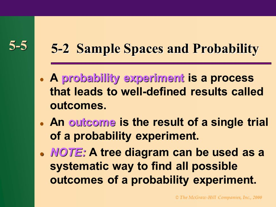 5-2 Sample Spaces and Probability