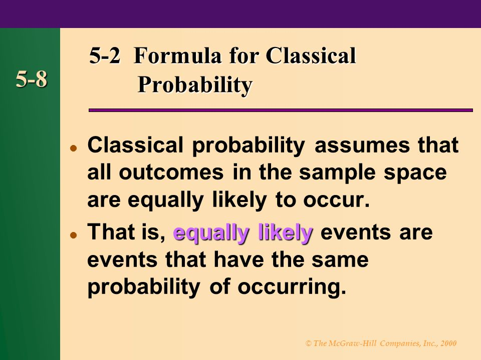 5-2 Formula for Classical Probability