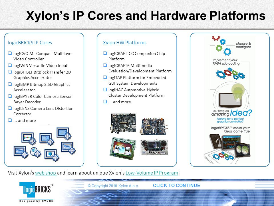 Xylon's IP Cores and Hardware Platforms