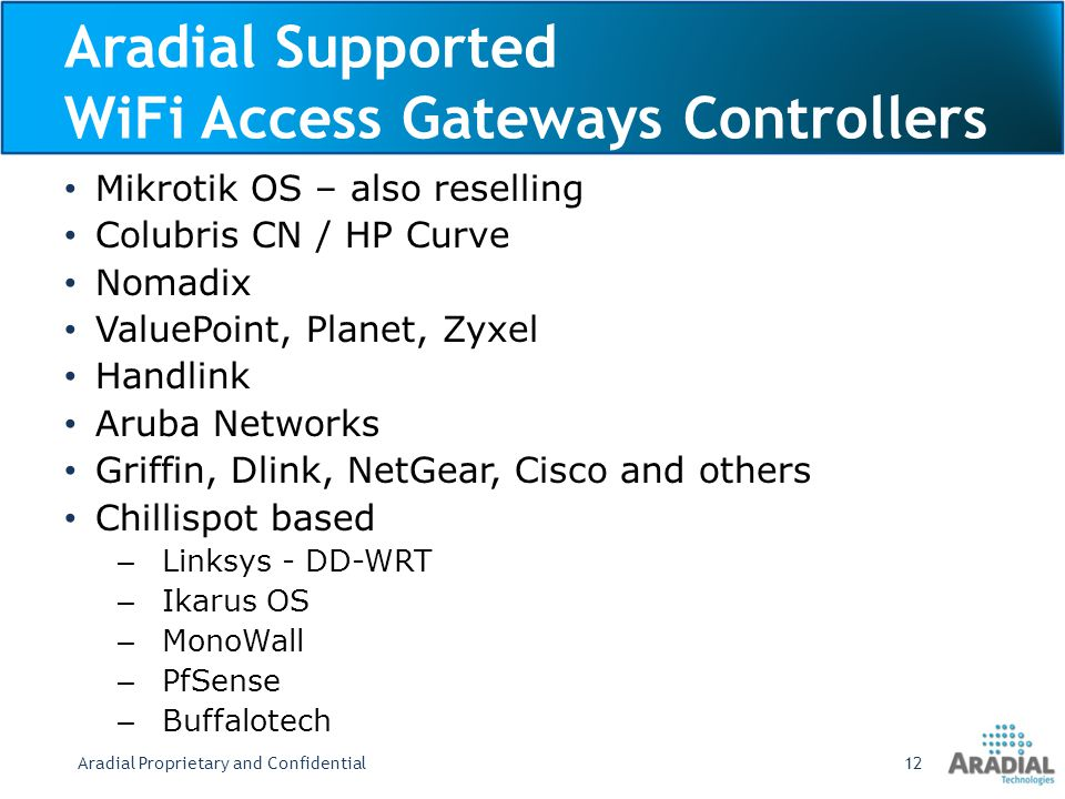 Aradial Supported WiFi Access Gateways Controllers