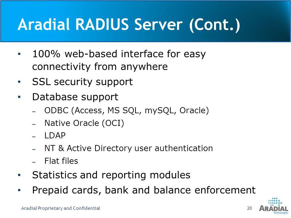 Aradial RADIUS Server (Cont.)
