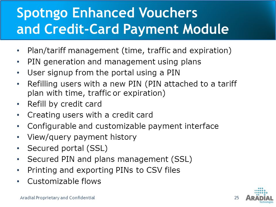 Spotngo Enhanced Vouchers and Credit-Card Payment Module