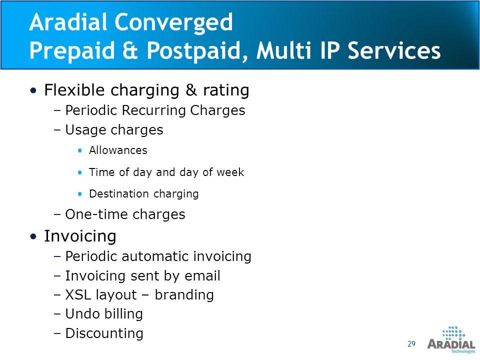 Aradial Converged Prepaid & Postpaid, Multi IP Services