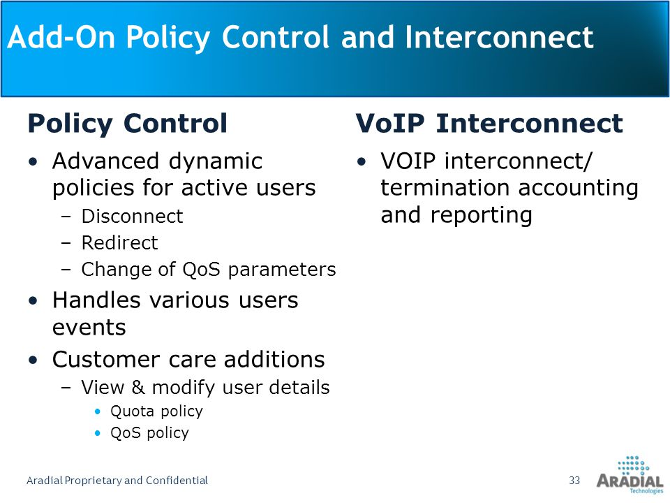 Add-On Policy Control and Interconnect