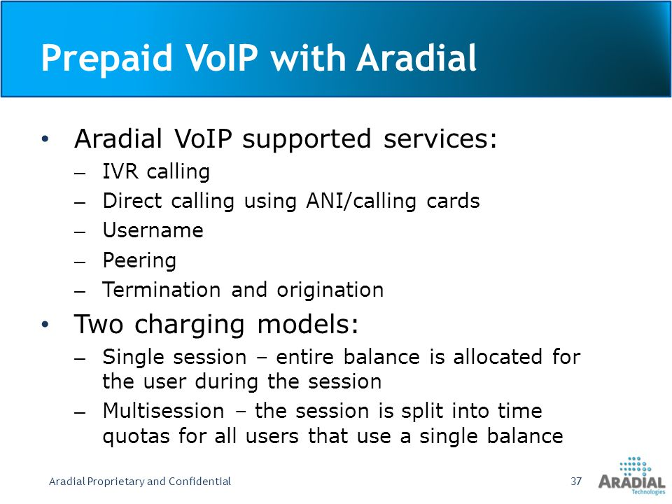 Prepaid VoIP with Aradial