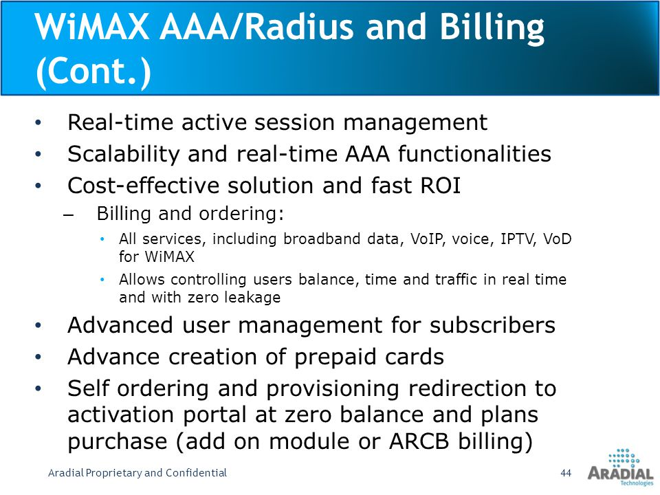 WiMAX AAA/Radius and Billing (Cont.)