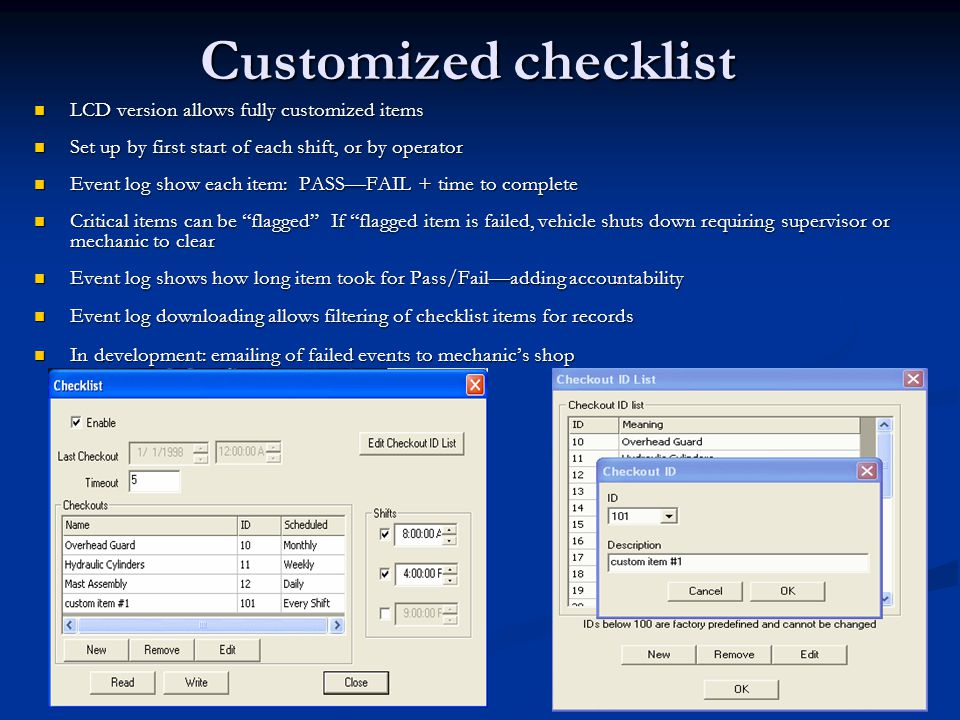 Customized checklist LCD version allows fully customized items