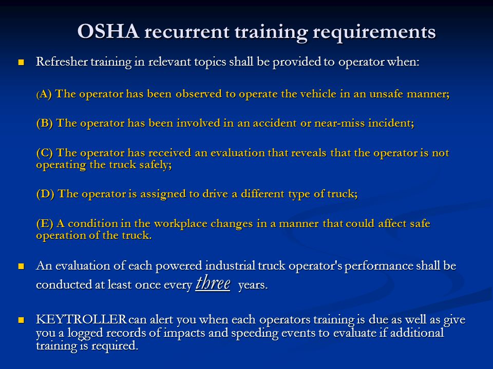 OSHA recurrent training requirements