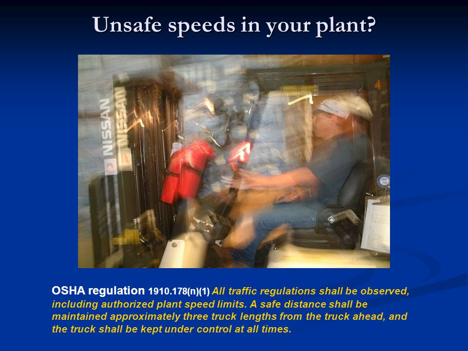 Unsafe speeds in your plant
