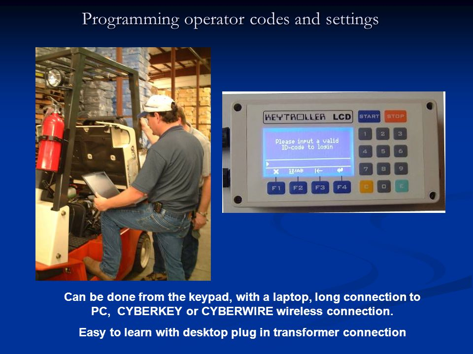 Programming operator codes and settings