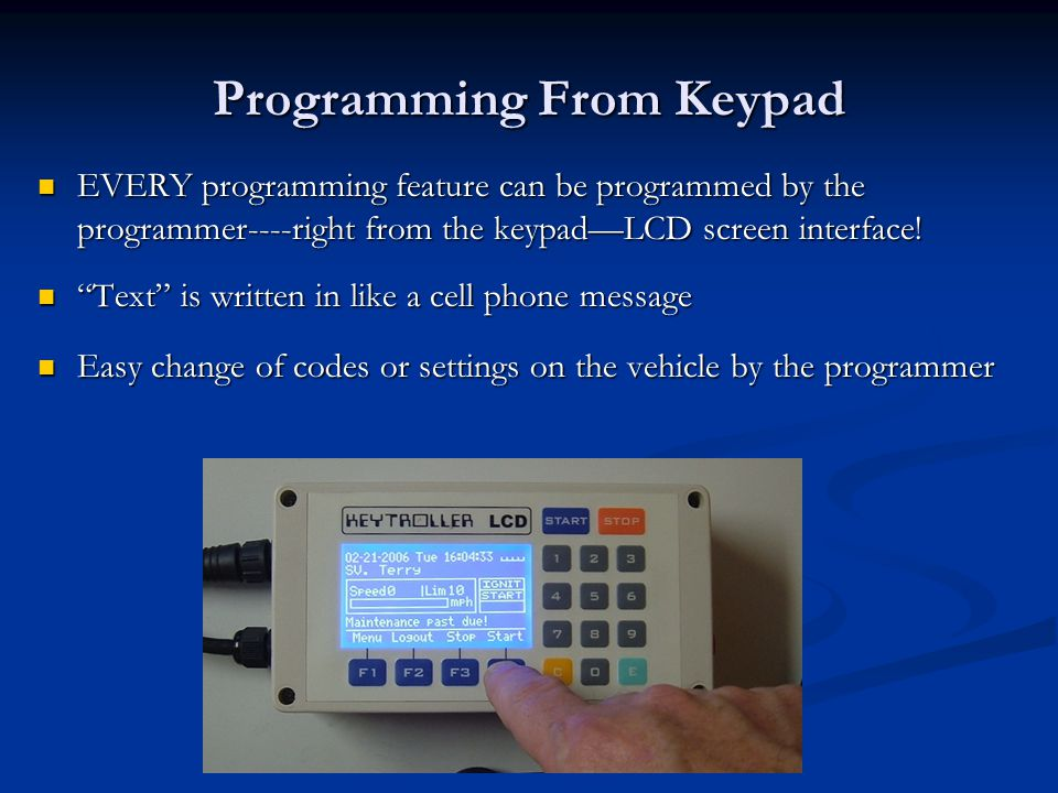 Programming From Keypad
