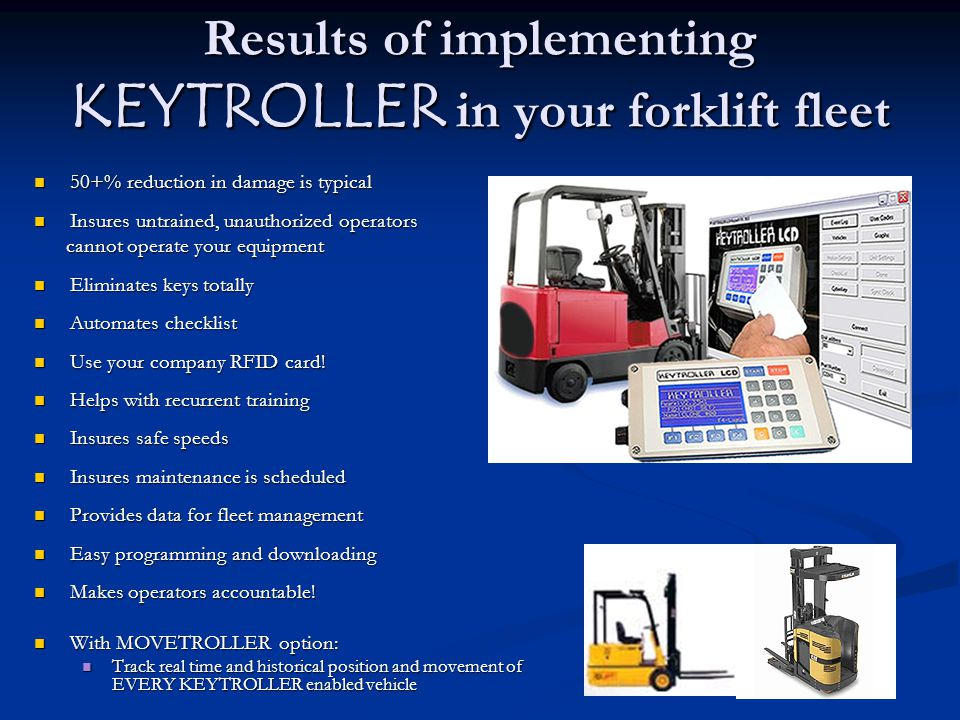 Results of implementing KEYTROLLER in your forklift fleet