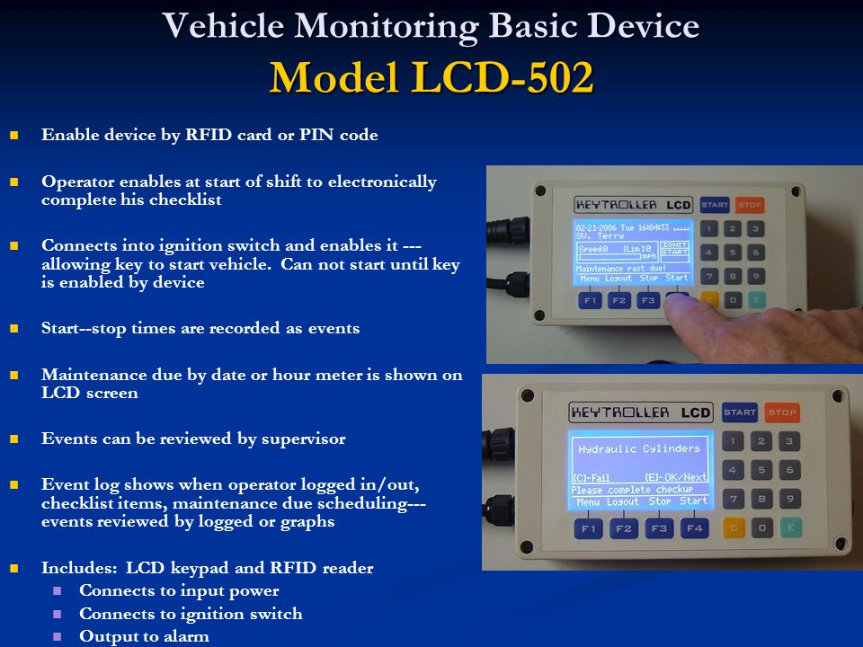 Vehicle Monitoring Basic Device Model LCD-502