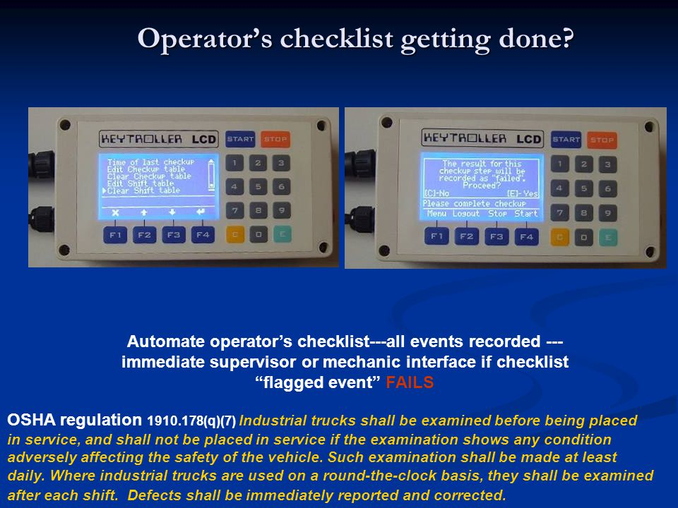 Operator's checklist getting done
