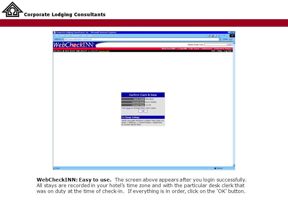 WebCheckINN: Easy to use