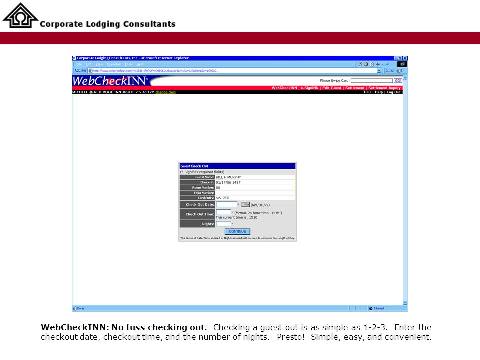 WebCheckINN: No fuss checking out