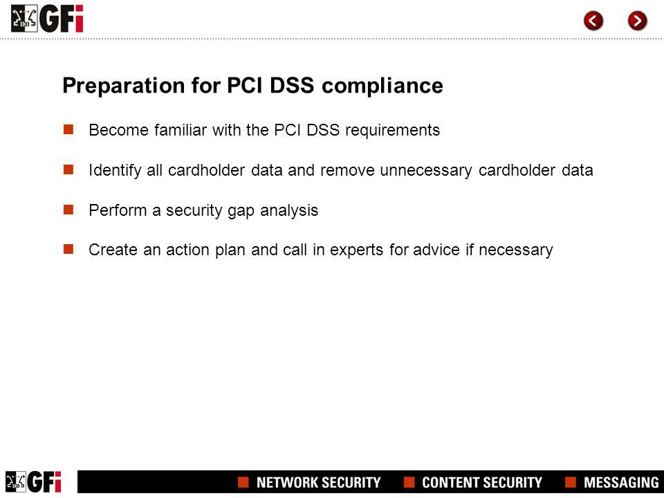 Preparation for PCI DSS compliance