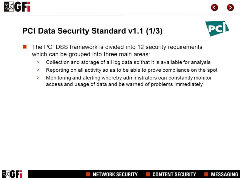 PCI Data Security Standard v1.1 (1/3)