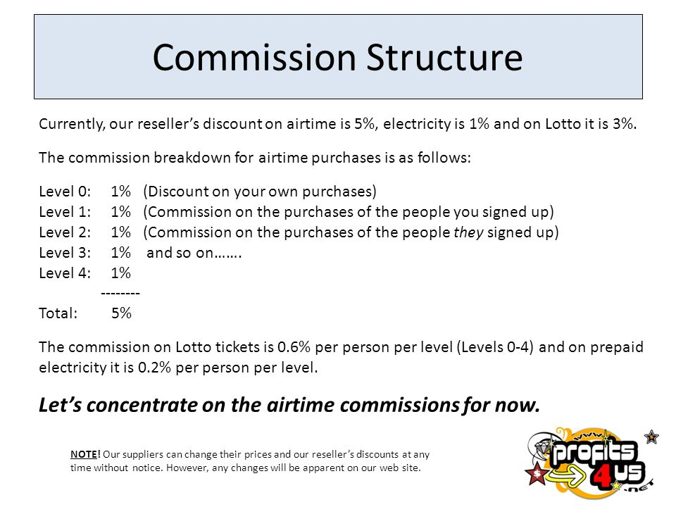 Commission Structure Currently, our reseller's discount on airtime is 5%, electricity is 1% and on Lotto it is 3%.