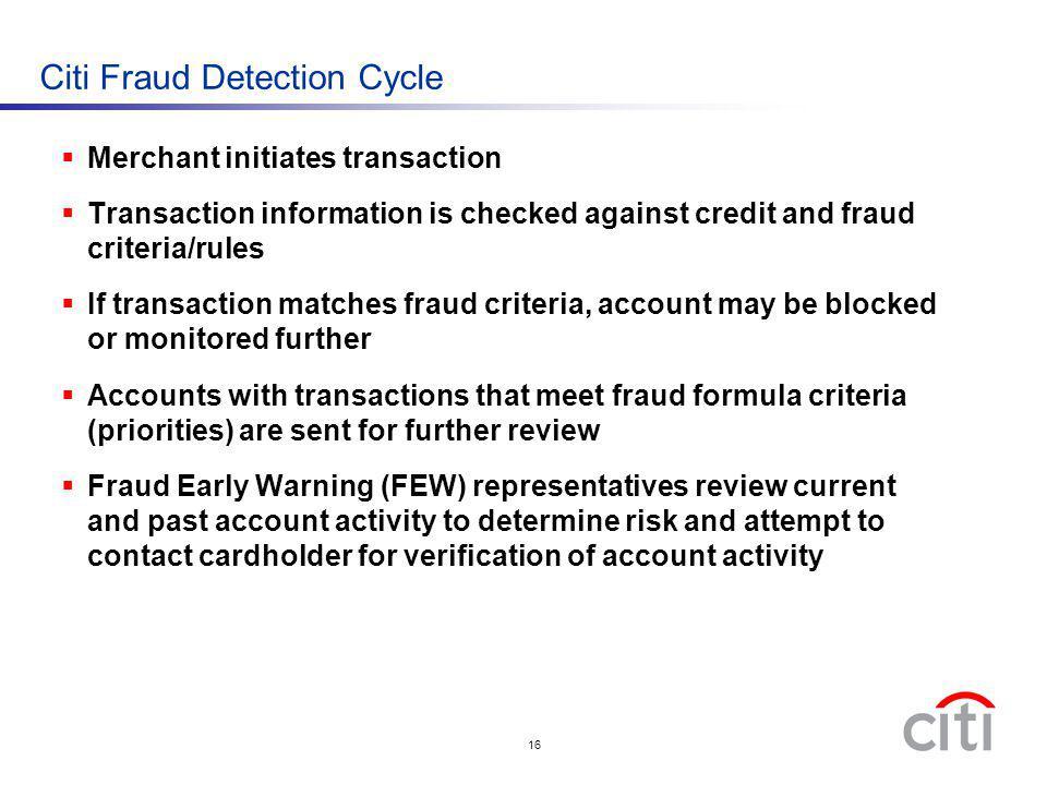 Citi Fraud Detection Cycle