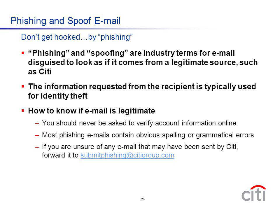 Phishing and Spoof E-mail