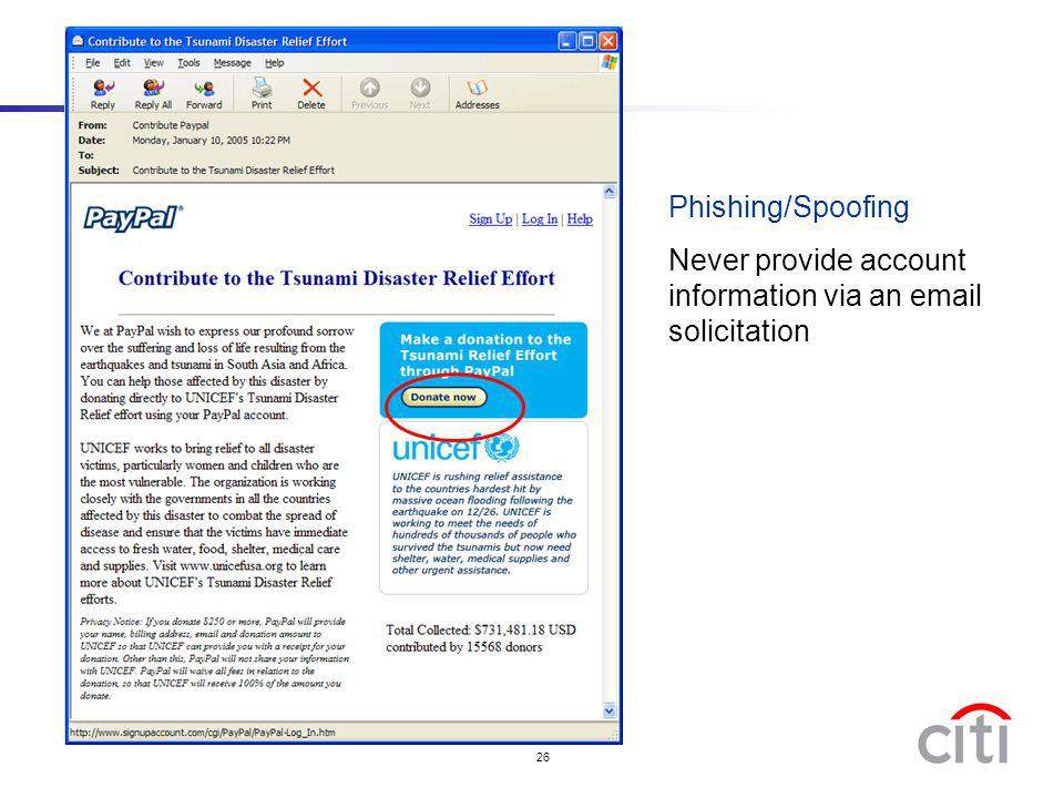 Phishing/Spoofing Never provide account information via an email solicitation