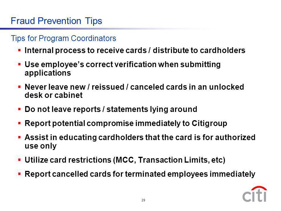Fraud Prevention Tips Tips for Program Coordinators